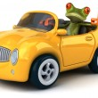 Fun frog in car — Stock Photo #76945177