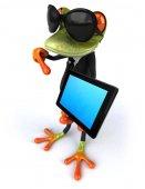 タブレット コンピューターで楽しいカエル — ストック写真