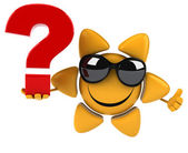 Fun sun with question mark — Stock Photo