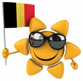 Fun cartoon sun with flag — Stock Photo