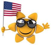 Fun cartoon sun with flag — Stock Photo
