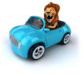 Lion amusante dans une voiture — Photo