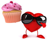 Fun heart with cupcake — Stock Photo