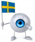 Cartoon eye with flag — Stock Photo