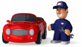 Fun cartoon mechanic and a car — Stock Photo