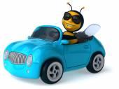 Fun bee in a car — Stock Photo