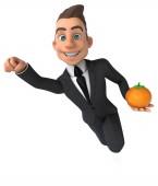 Fun businessman with tomato — Stock Photo