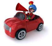 Fun clown sitting in car — Stock Photo
