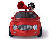 Весело клоун, сидя в машине — Стоковое фото