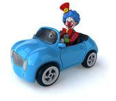 Fun cartoon clown in car — Stock Photo