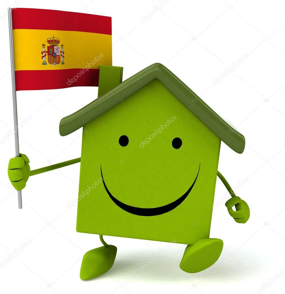 dr le de maison avec le drapeau espagnol photographie julos 84485674. Black Bedroom Furniture Sets. Home Design Ideas