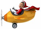 Santa claus in airplane — Stock Photo