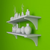 Simple shelves on a wall. — Stock Photo