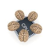 Le microprocesseur et le cerveau humain. — Photo