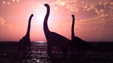 Dinosaurs in a prehistoric lake at sunset HD video 1080 — Stockvideo