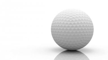 Rotating golf ball on white background HD video 1080 (loop) — Vídeo stock
