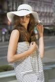 Pretty woman in sunny summer day  — Stock Photo