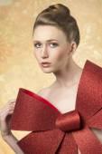 Girl with big christmas bow  — Foto de Stock