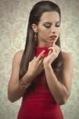 Sensual woman with red dress  — Stock Photo