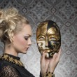 Antique lady with mask — Stock Photo #64325103