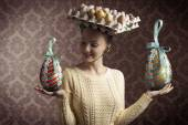 Vintage funny easter woman — Foto Stock