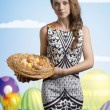 Spring girl with easter eggs — Stock Photo #66898103