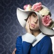 Spring woman posing with fashion hat — Stock Photo #68984201