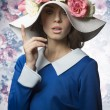 Summer girl fashion with hat. vintage — Stock Photo #68985861
