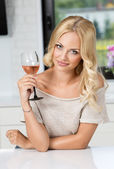 Girl with glass of wine posing — Foto de Stock