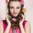 Spring girl with flowers — Stock Photo #69714839