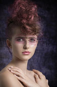 Aggressive female in beauty shoot  — Photo