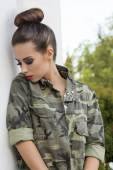 Girl with military urban style — Stock Photo