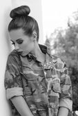 Girl with military urban style BW shot — Stock Photo