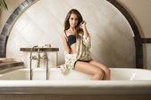 Cute girl in elegant bathroom — Stock Photo