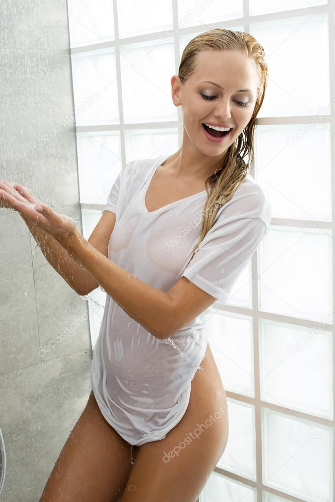 blonde girl in shower
