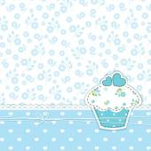 Blue background with cupcake — Stock Vector