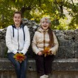 Two girl friends in autumn park — Stock Photo #56853471