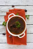 Soup with moshrooms and beans — Stock Photo