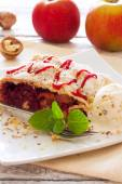Christmas strudel with apples and cherries — Stock Photo