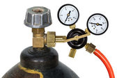 Gas pressure regulator with manometer, isolated on white backgro — Stock Photo