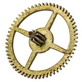 Pinion of old clock mechanism, isolated on white background — Stock Photo