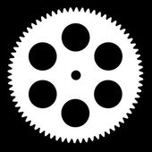 Silhouette pinion, isolated on black background — Stock Photo