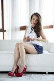 Beautiful and sexy woman wearing elegance dress — Stock Photo
