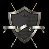 Striscione scudo e argento. — Foto Stock