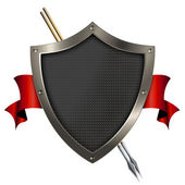 Shield and red banner. — Stock Photo