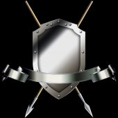 Medieval shield with spears and banner. — Stock Photo