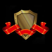 Medieval gold shield with spears and red ribbon. — Stock Photo