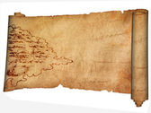 Medieval parchment and ancient map. — Stock Photo