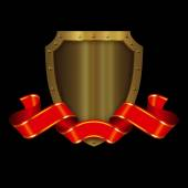 Medieval gold shield and red ribbon. — Stock Photo