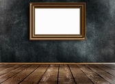 Old wooden frame on wall. — Stock Photo